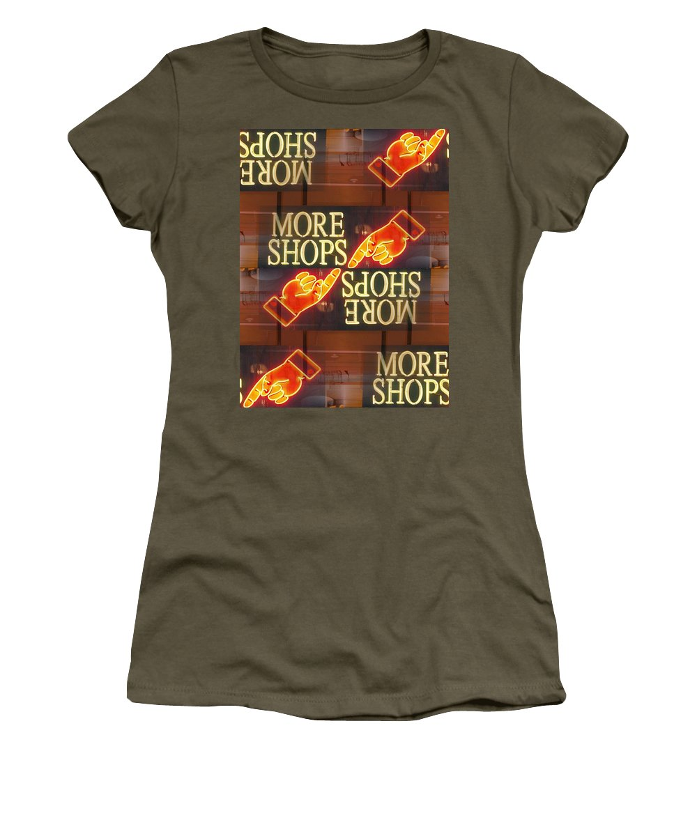 Seattle Women's T-Shirt (Athletic Fit) featuring the digital art More Shops by Tim Allen