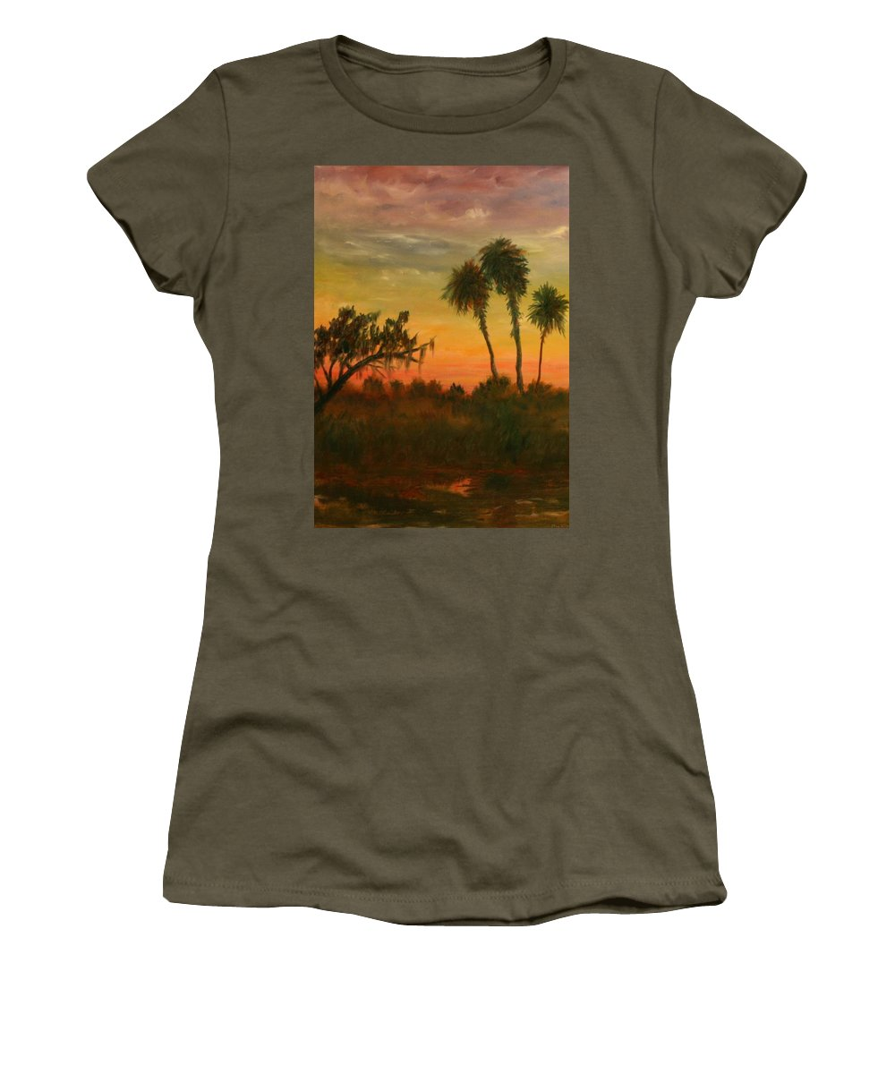 Palm Trees; Tropical; Marsh; Sunrise Women's T-Shirt featuring the painting Morning Fog by Ben Kiger
