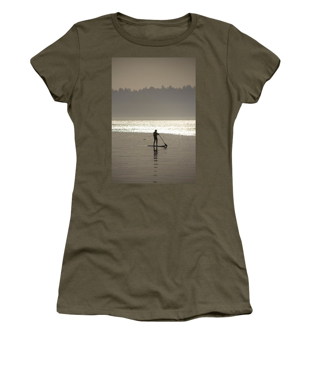 Paddle Board Women's T-Shirt featuring the photograph Morning Paddle by Debby Richards