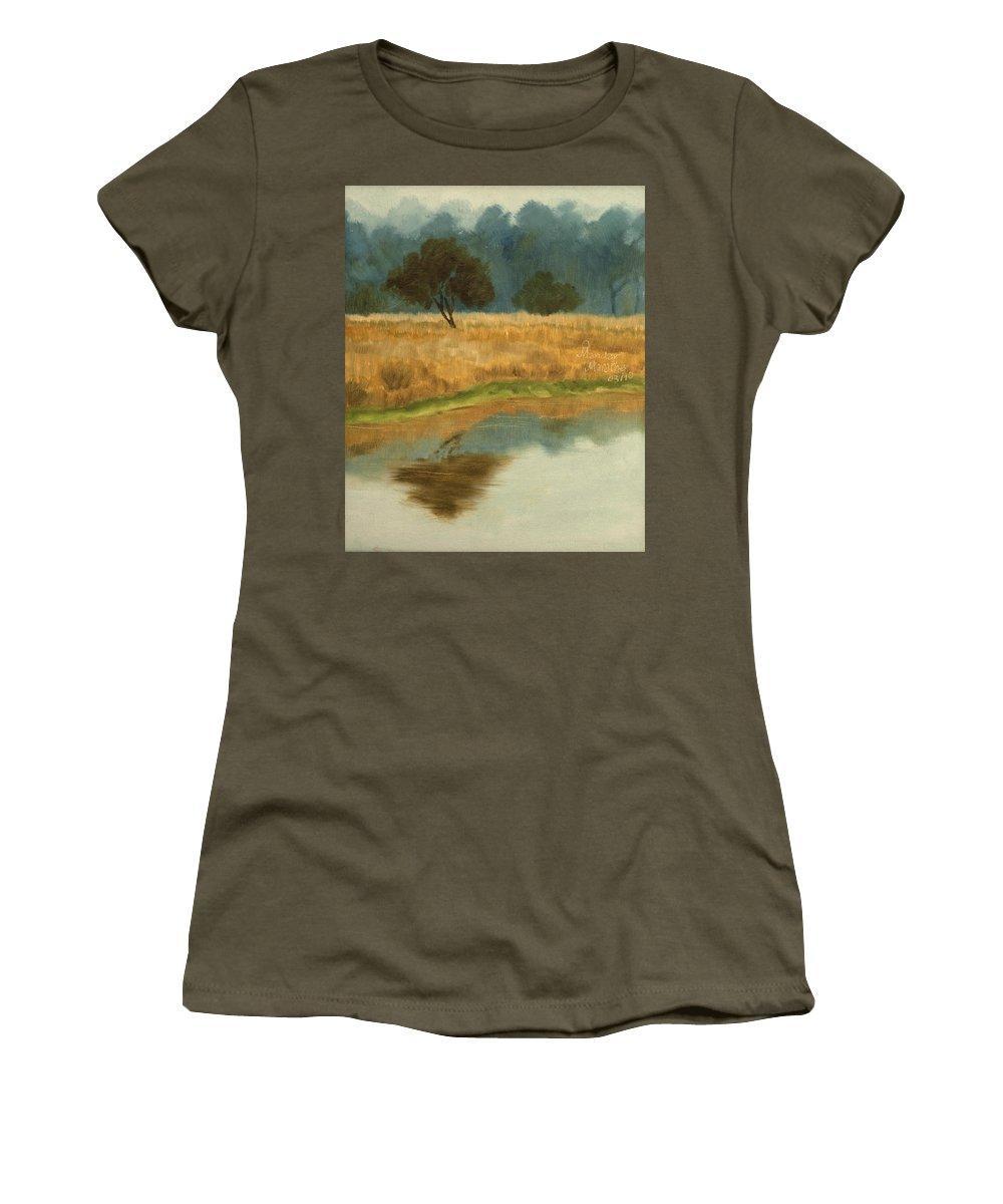 Landscape Women's T-Shirt featuring the painting Morning Still by Mandar Marathe