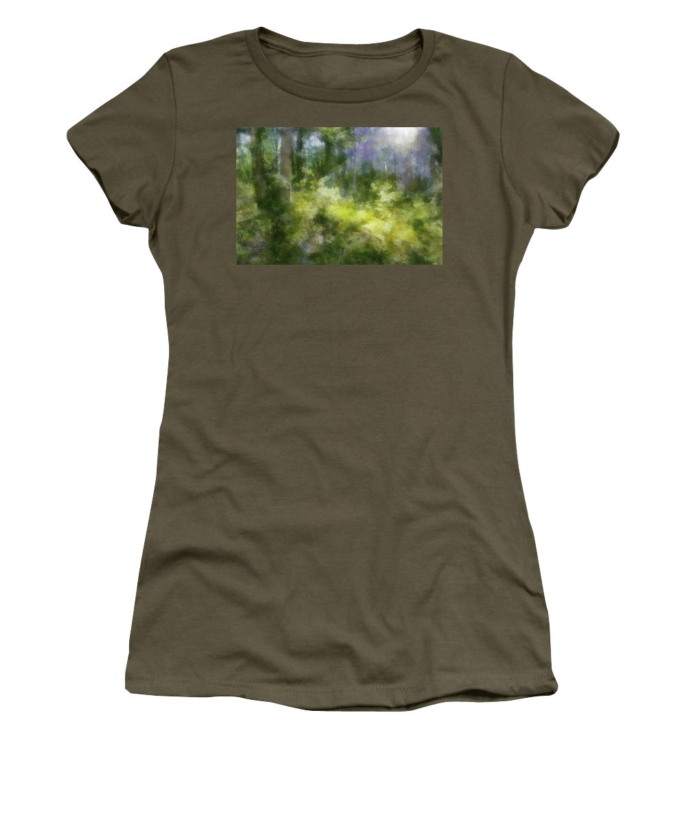 Forest Women's T-Shirt featuring the digital art Morning Walk In The Forest by Francesa Miller
