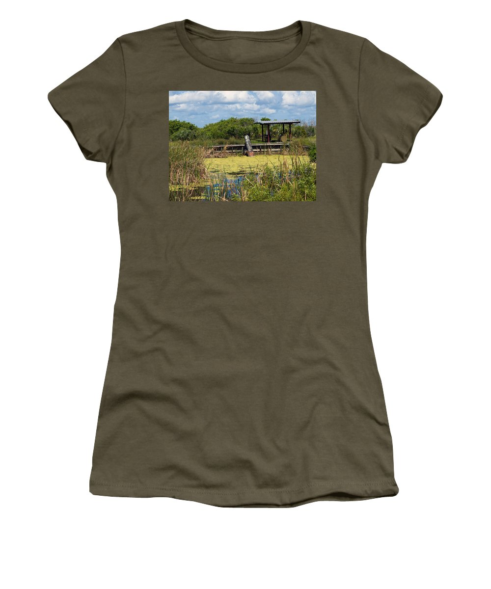 Florida; Mosquito; Coast; Flood; Flooding; Water; Salt; Marsh; Impoundment; Impound; Contain; Pond; Women's T-Shirt (Athletic Fit) featuring the photograph Mosquito Impoundement In Florida by Allan Hughes