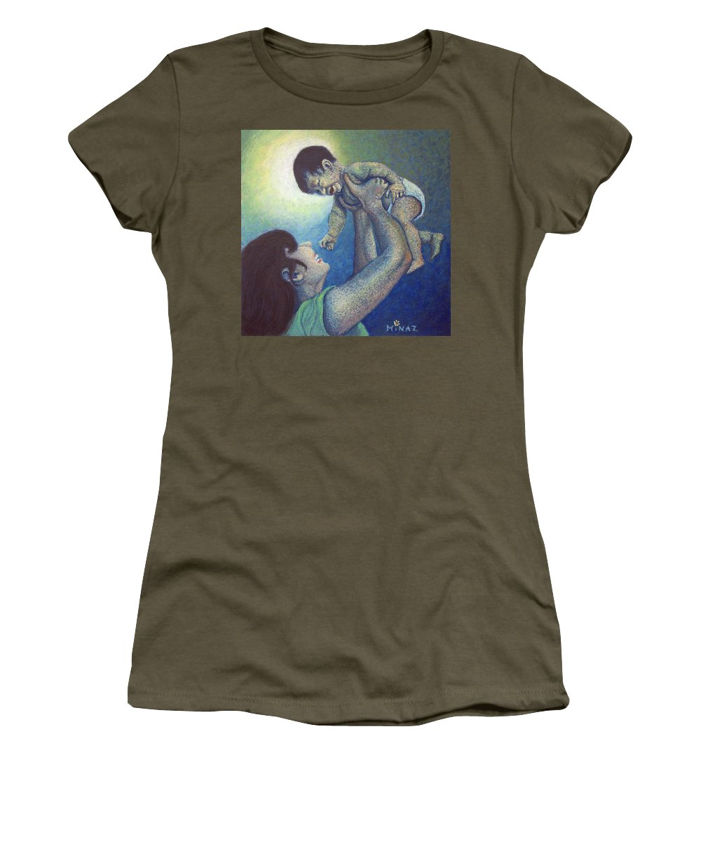 Mother Women's T-Shirt featuring the painting Mother's Play by Minaz Jantz