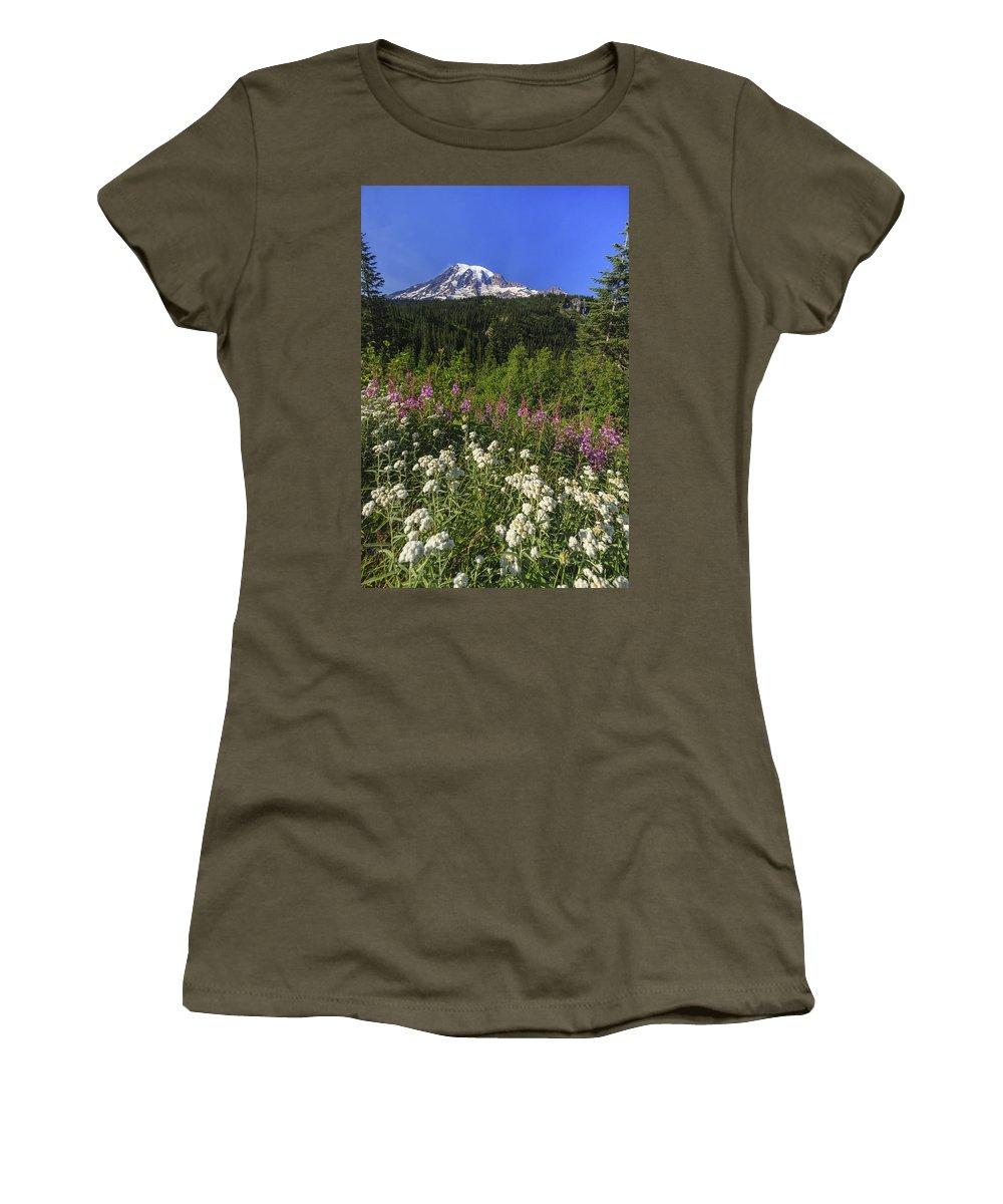 3scape Women's T-Shirt (Athletic Fit) featuring the photograph Mount Rainier by Adam Romanowicz