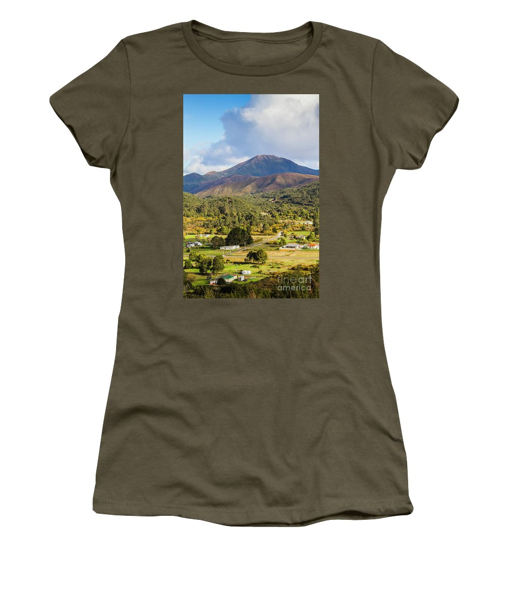 Countryside Women's T-Shirt featuring the photograph Mount Zeehan Valley Town. West Tasmania Australia by Jorgo Photography - Wall Art Gallery