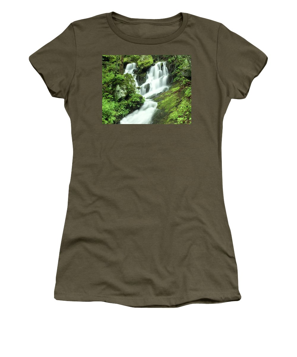 Waterfalls Women's T-Shirt (Athletic Fit) featuring the photograph Mountain Falls by Marty Koch