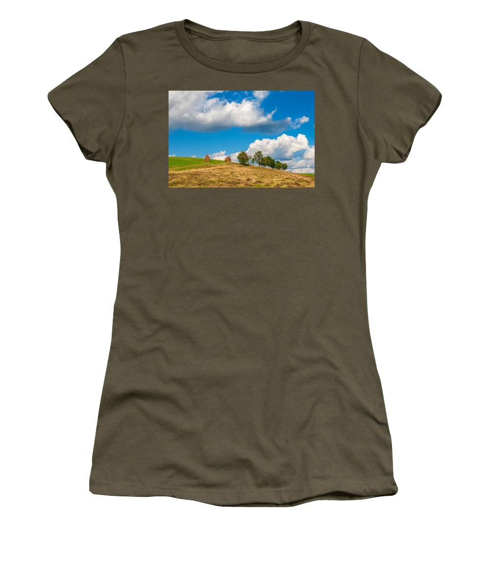 Ukraine Women's T-Shirt featuring the photograph Mountain Landscape With Haystacks And Trees On Top Of Hill by Sergey Grishin