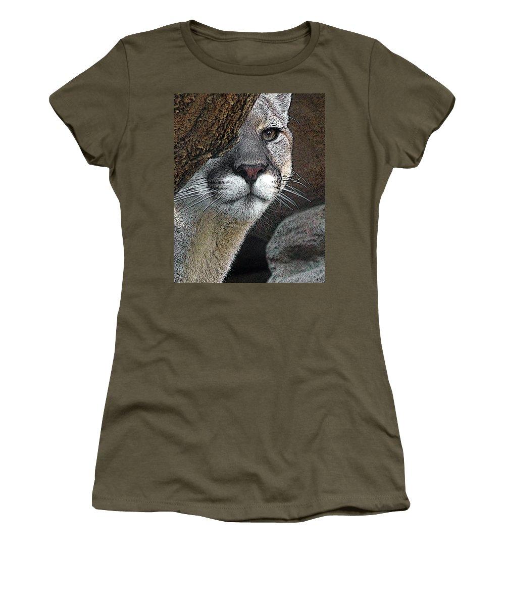 Big Cats Women's T-Shirt featuring the photograph Mountain Lion by Ernie Echols
