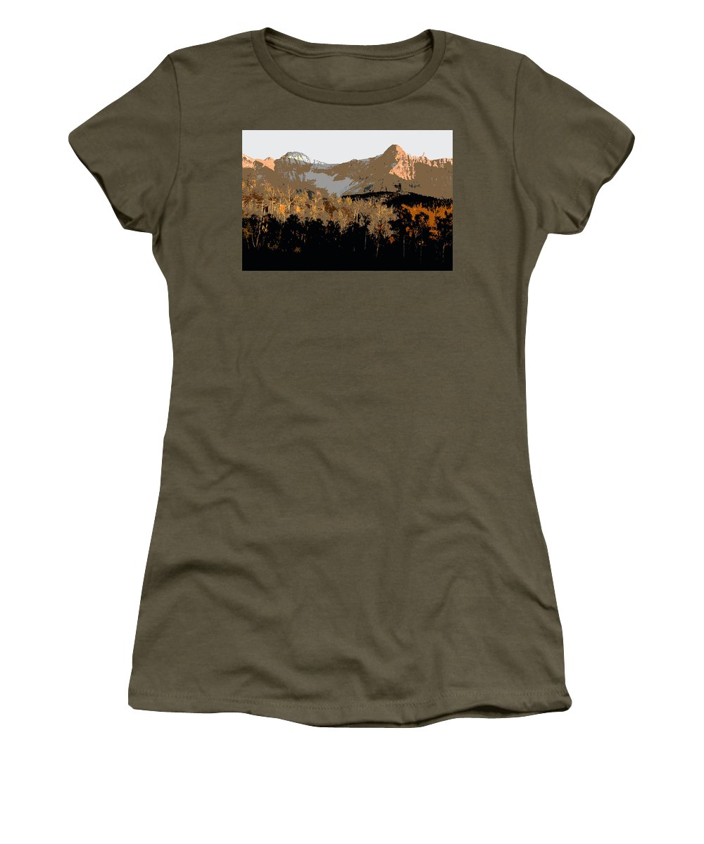 Mountains Women's T-Shirt featuring the painting Mountain Majesty by David Lee Thompson