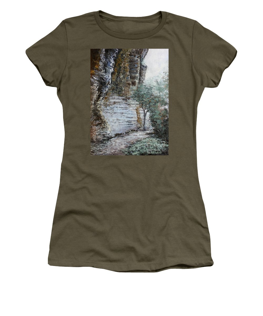 Landscape Women's T-Shirt featuring the painting Mountain Pass by Todd Blanchard
