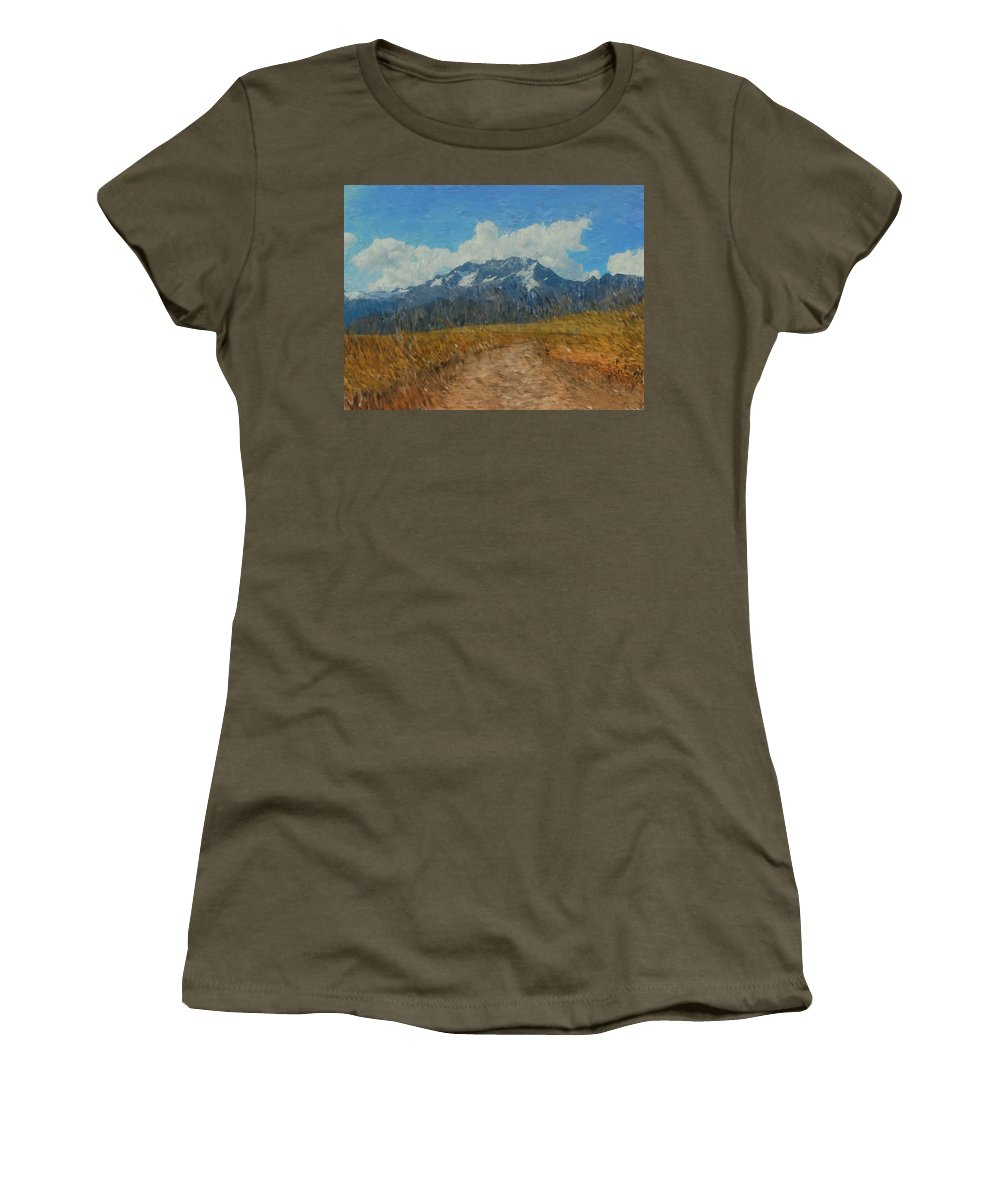 Abstract Digital Painting Women's T-Shirt (Athletic Fit) featuring the photograph Mountains In Puru by David Lane