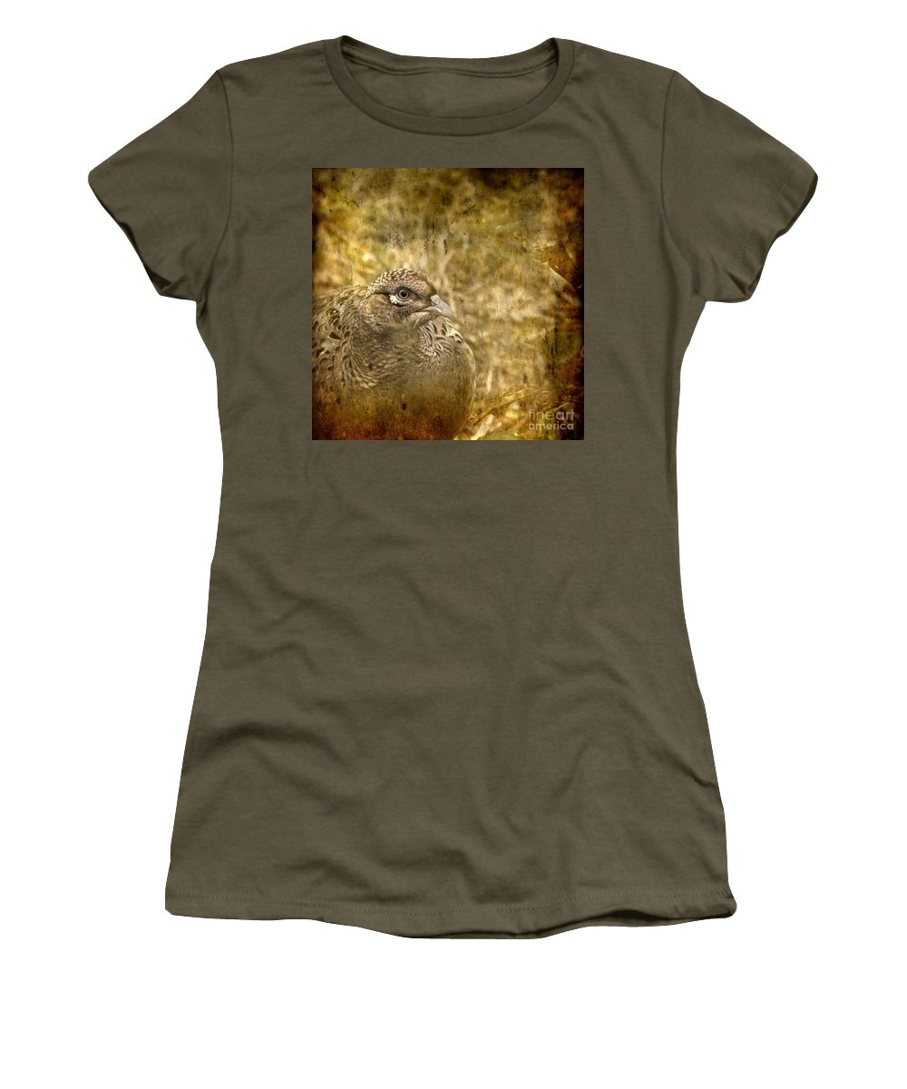 Pheasant Women's T-Shirt (Athletic Fit) featuring the photograph Mrs Pheasant by Angel Tarantella