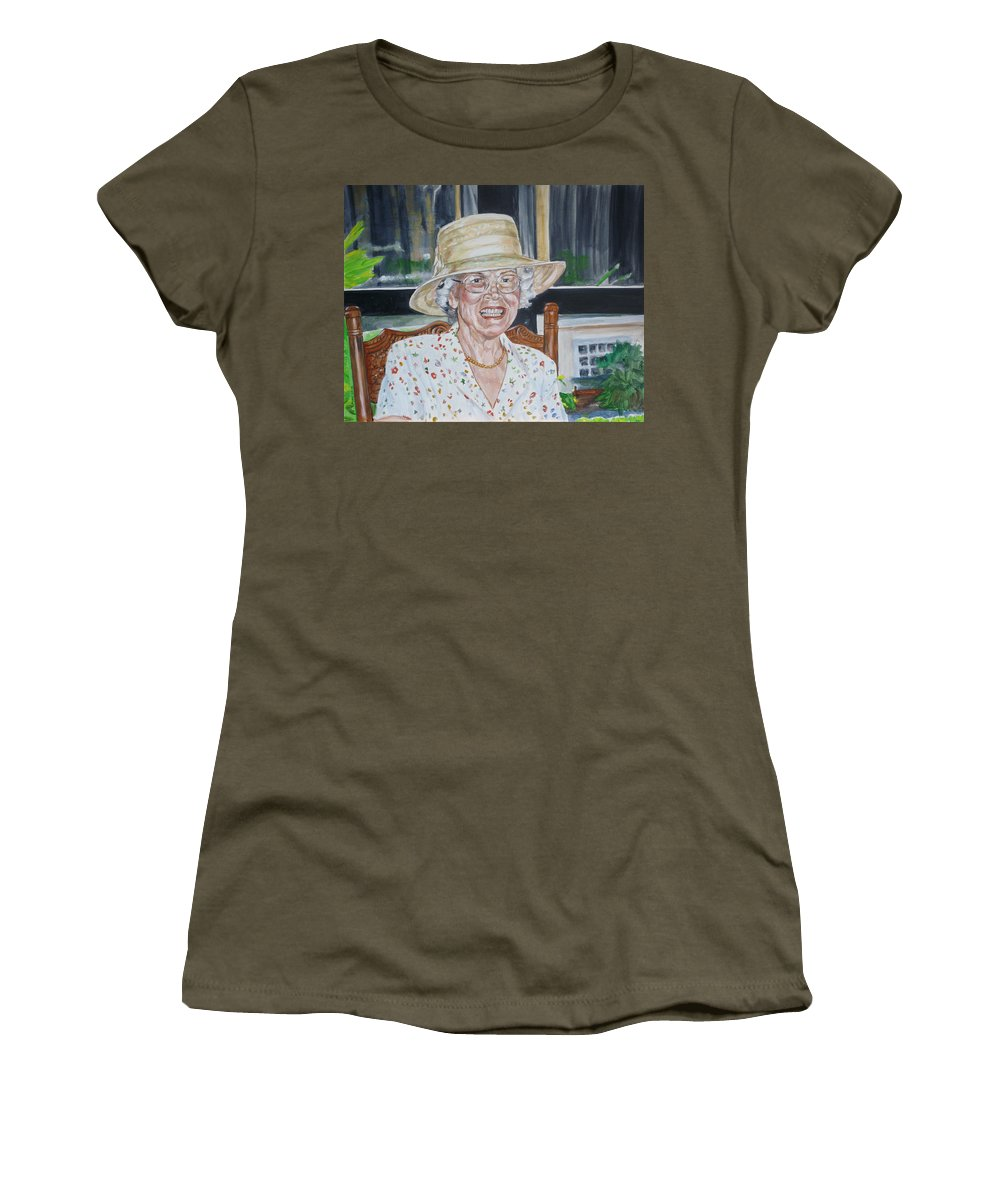 Portrait Women's T-Shirt (Athletic Fit) featuring the painting Mrs Spencer by Bryan Bustard