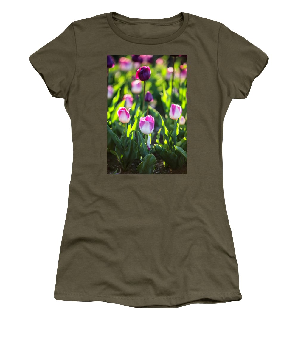 Flowers Women's T-Shirt (Athletic Fit) featuring the photograph Msu Spring 2 by John McGraw