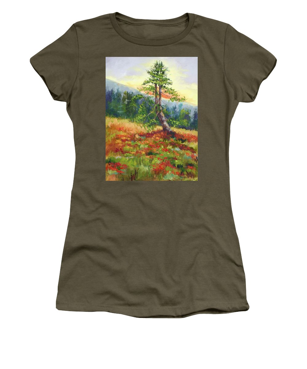 Mt.jumbo Tree Women's T-Shirt (Athletic Fit) featuring the painting Mt. Jumbo Tree Ak by Ginger Concepcion
