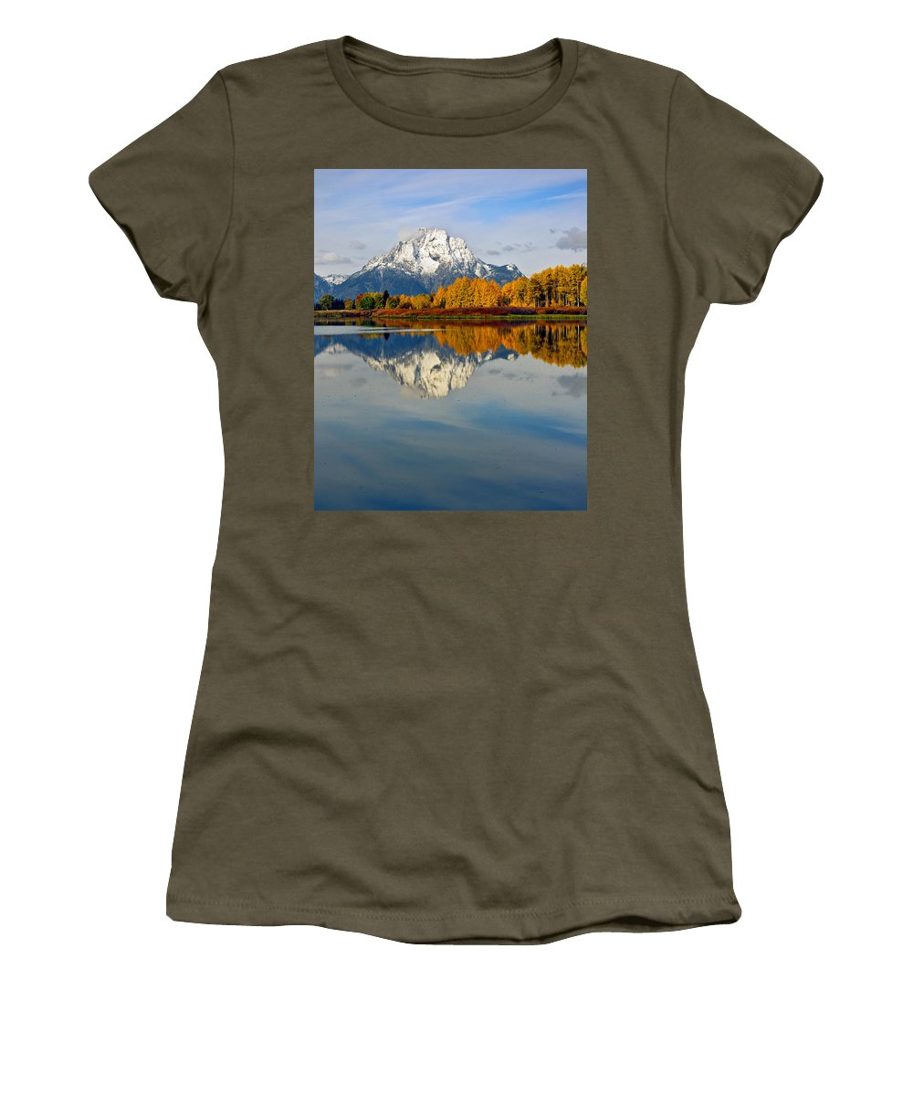 Mt Moran Women's T-Shirt featuring the photograph Mt Moran From The Ox Bow by Gary Langley