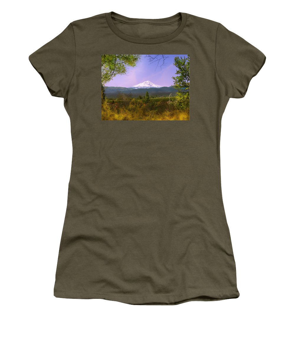Landscapes Women's T-Shirt (Athletic Fit) featuring the photograph Mt. Shasta by Karen W Meyer