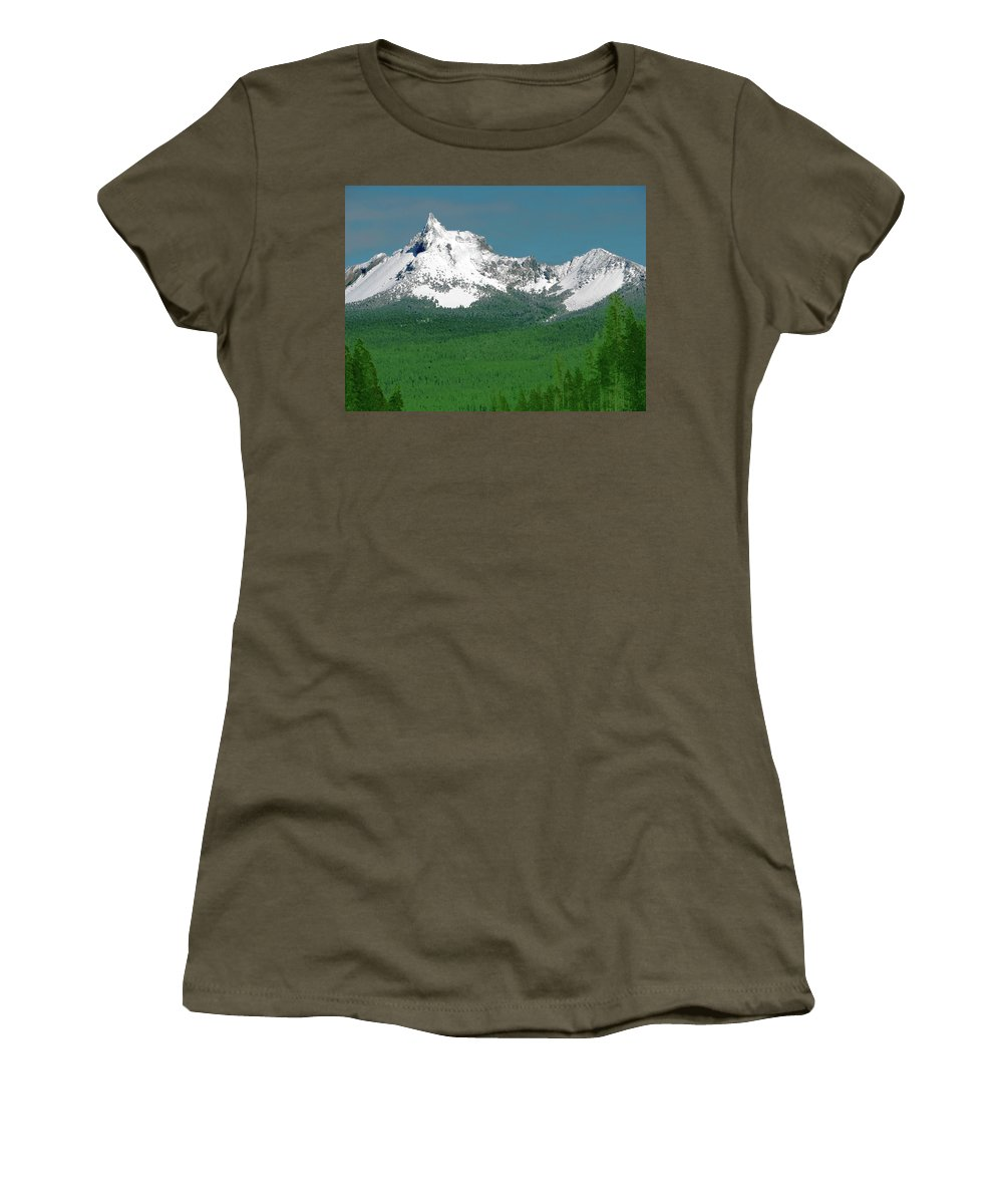 Mountain Women's T-Shirt featuring the photograph Mt Thielson Coated by Teri Schuster