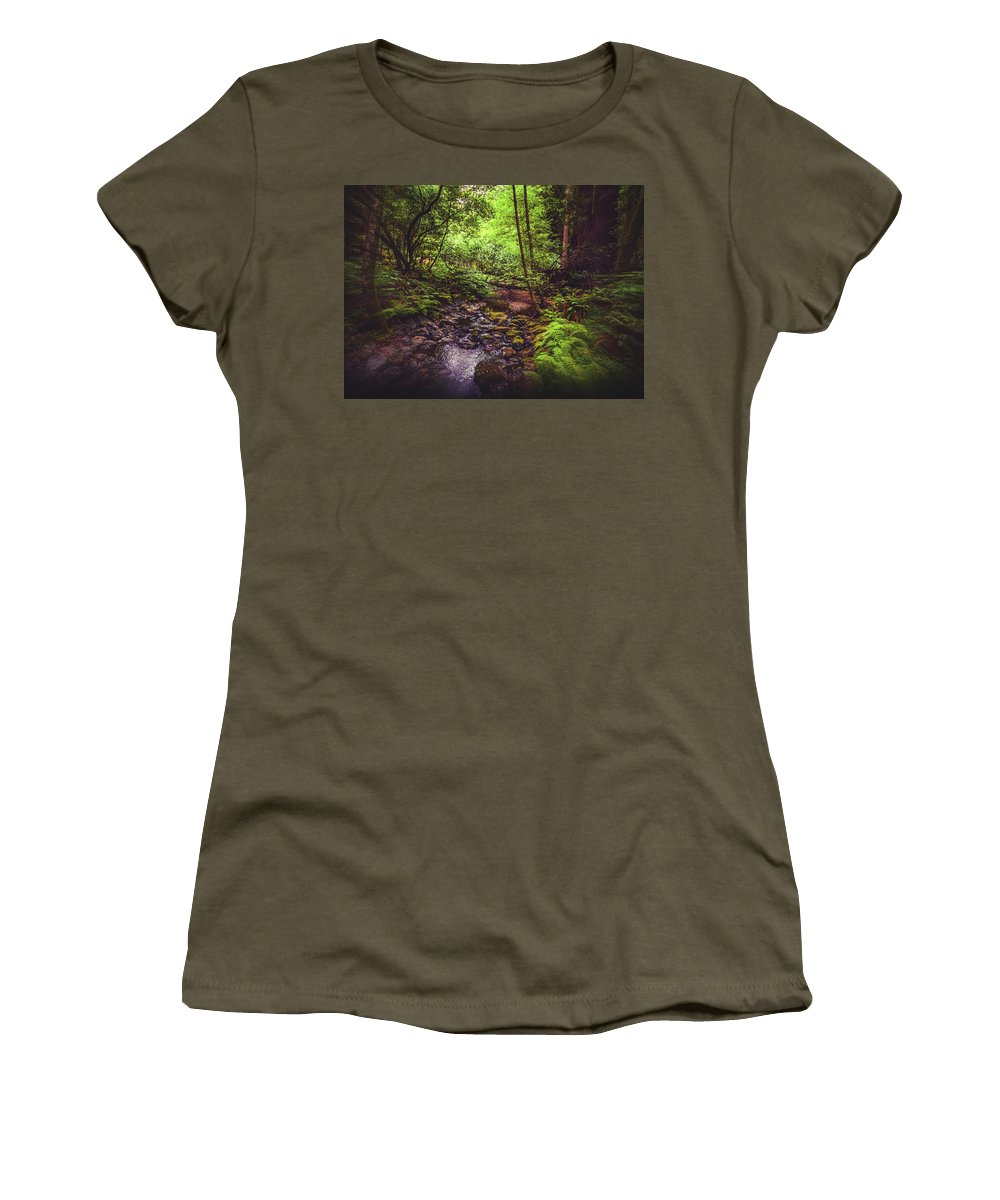 Woods Women's T-Shirt (Athletic Fit) featuring the photograph Muir Woods No. 3 by Laura DAddona