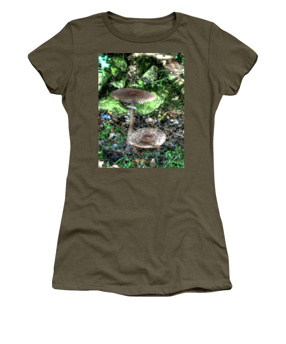 Mushroom Women's T-Shirt featuring the photograph Mushrooms Hdr by P Donovan