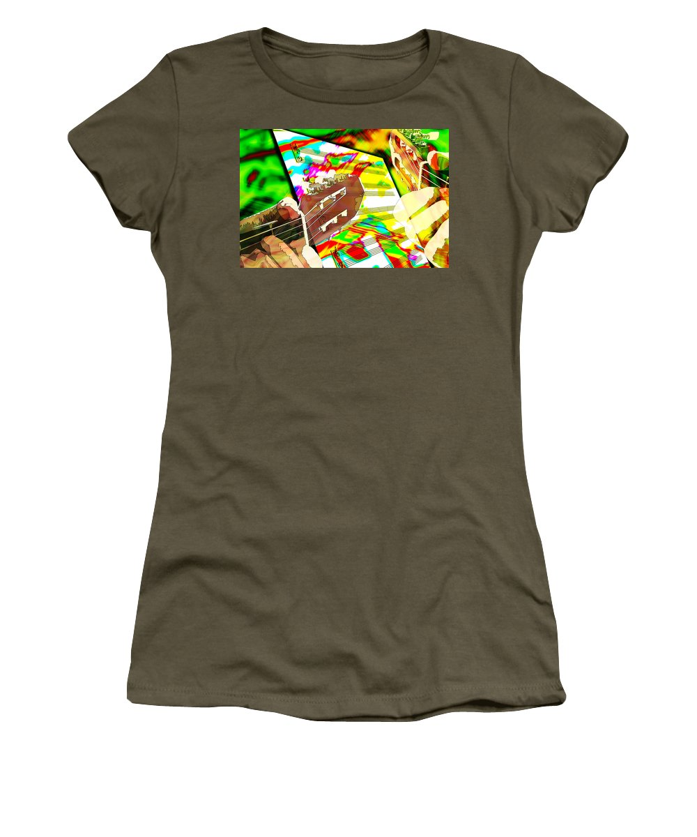 Guitar Women's T-Shirt (Athletic Fit) featuring the digital art Music Creation by Phill Petrovic