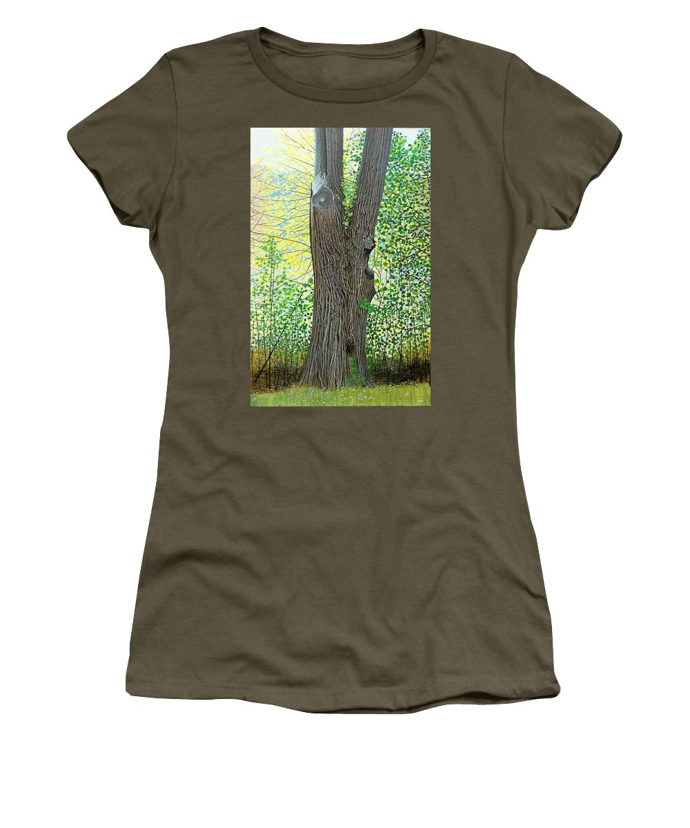 Landscape Women's T-Shirt (Athletic Fit) featuring the painting Muskoka Maple by Kenneth M Kirsch