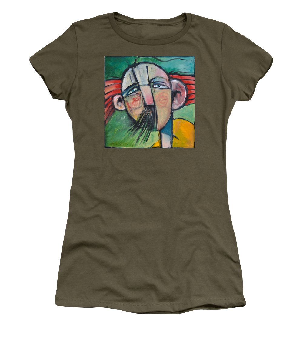 Humor Women's T-Shirt (Athletic Fit) featuring the painting Mustached Man In Wind by Tim Nyberg