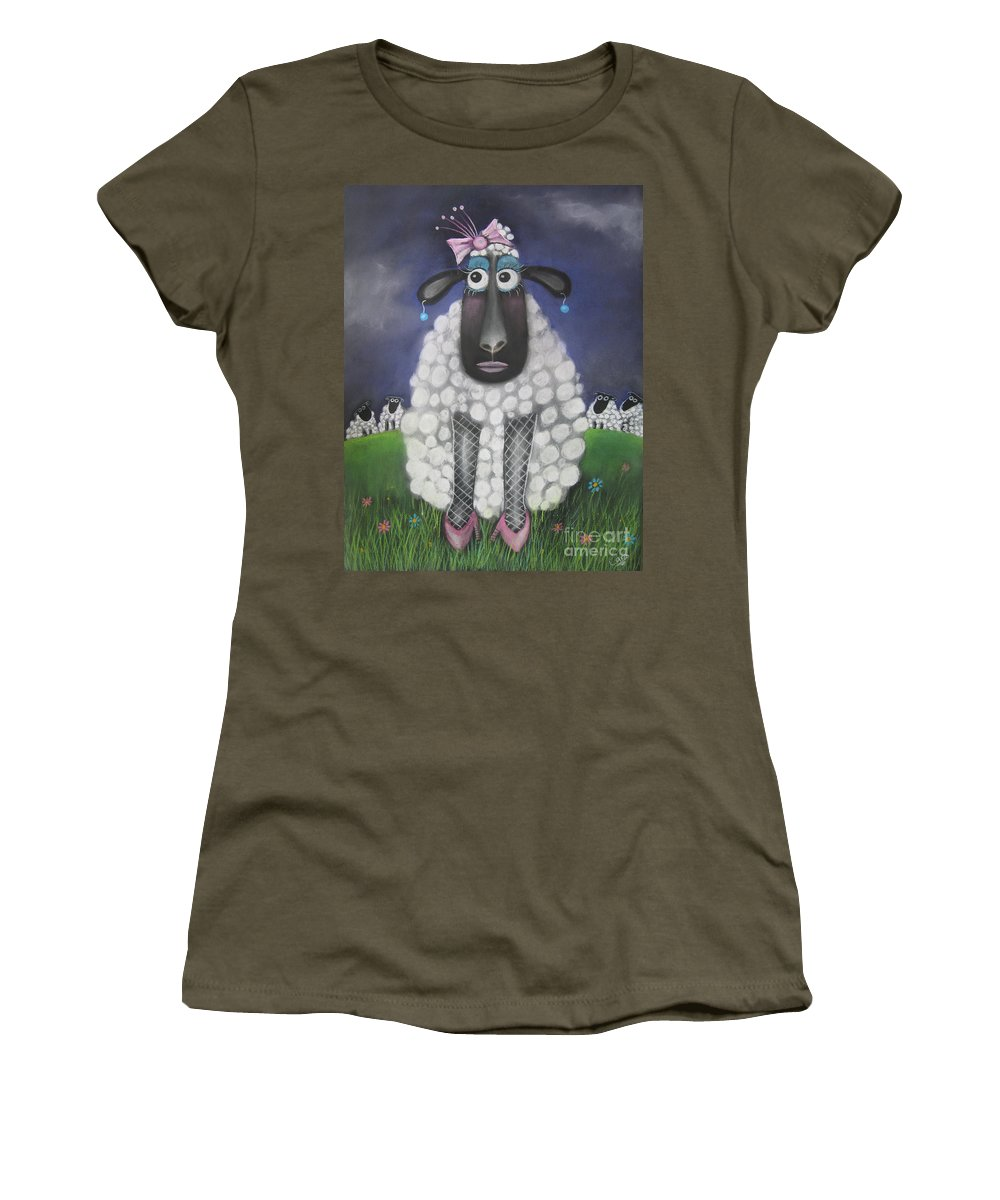 Caroline Peacock Women's T-Shirt featuring the pastel Mutton Dressed As Lamb by Caroline Peacock
