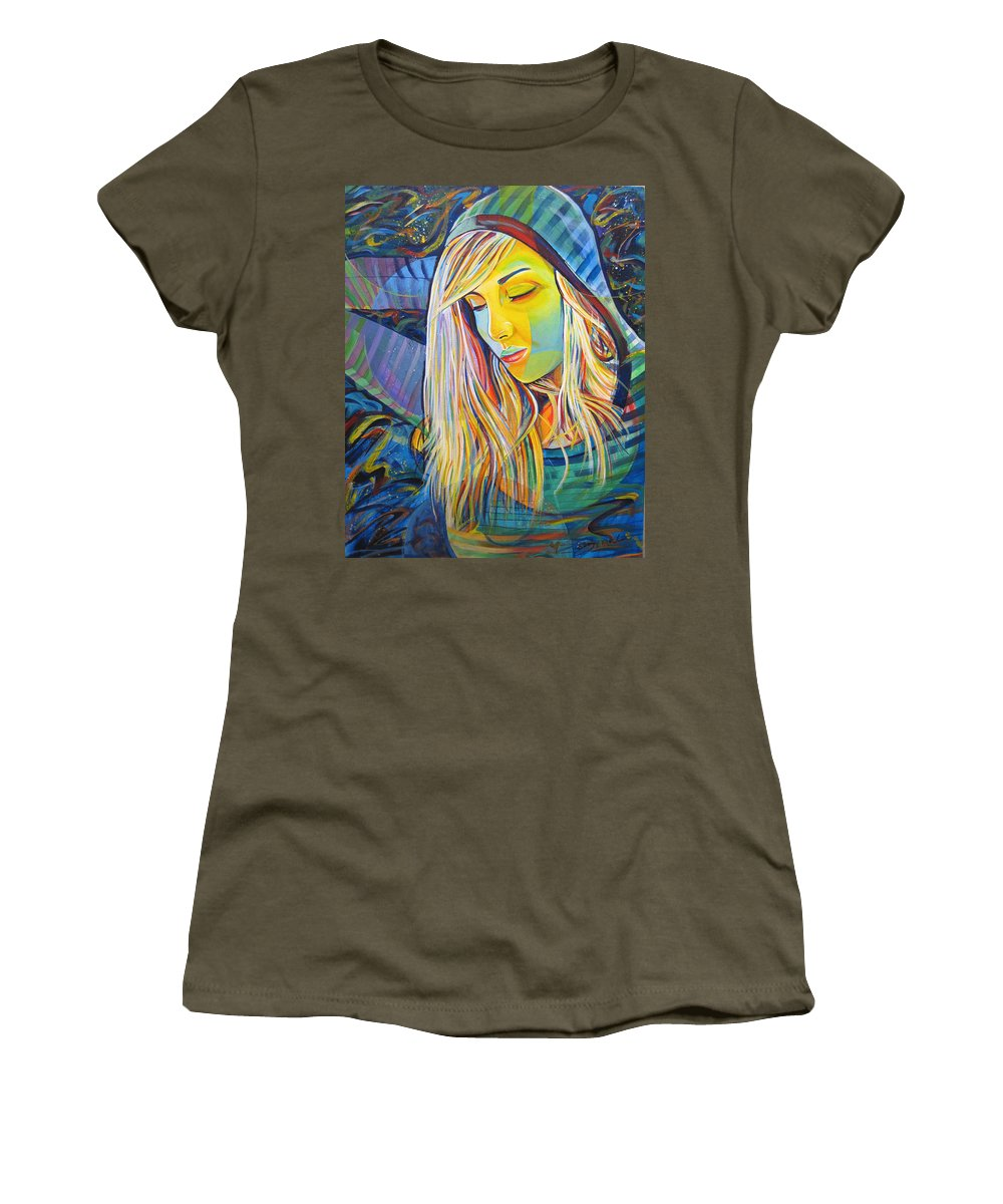 Colorful Women's T-Shirt featuring the painting My Love by Joshua Morton