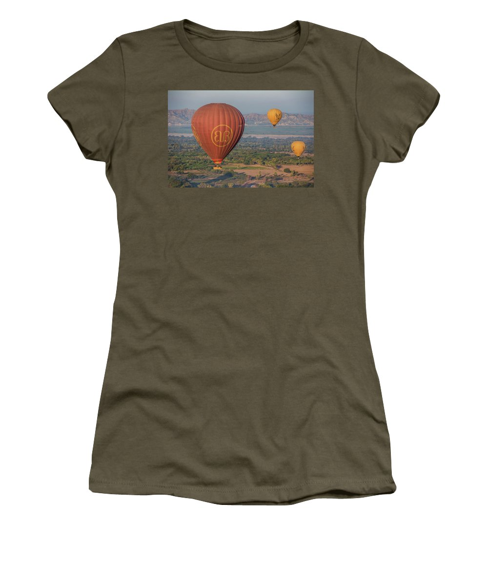 Myanmar Women's T-Shirt featuring the photograph Myanmar. Bagan. Hot Air Balloons. In The Air. by Vadim K