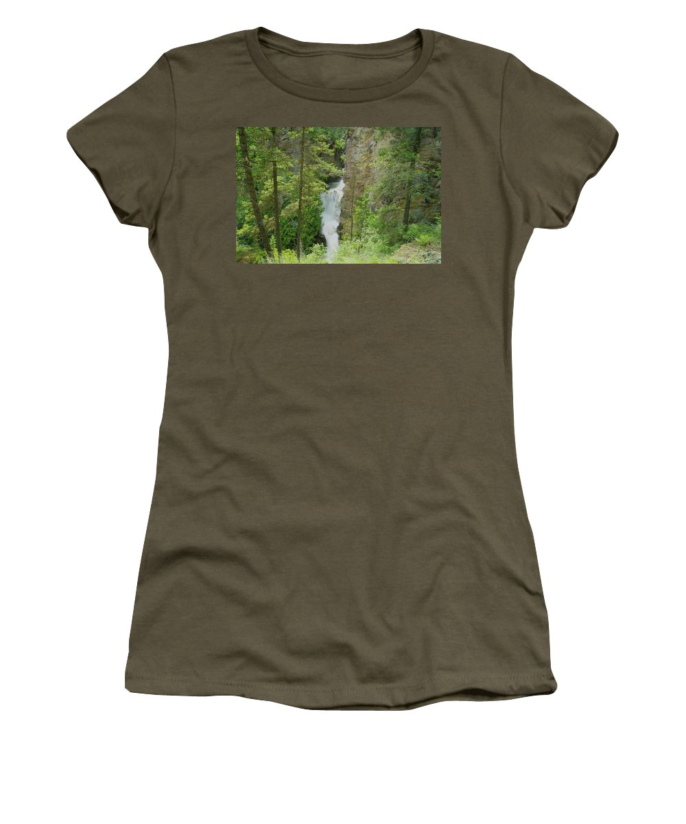 Waterfalls. Myrtlle Creek Falls Women's T-Shirt (Athletic Fit) featuring the photograph Myrtle Creek Falls by Jeff Swan