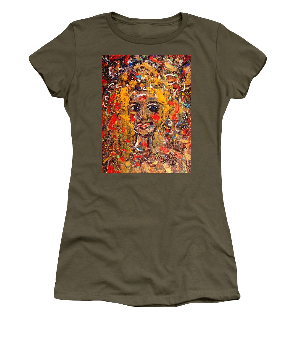 Impressionism Women's T-Shirt (Athletic Fit) featuring the painting Mysterious Eyes by Natalie Holland