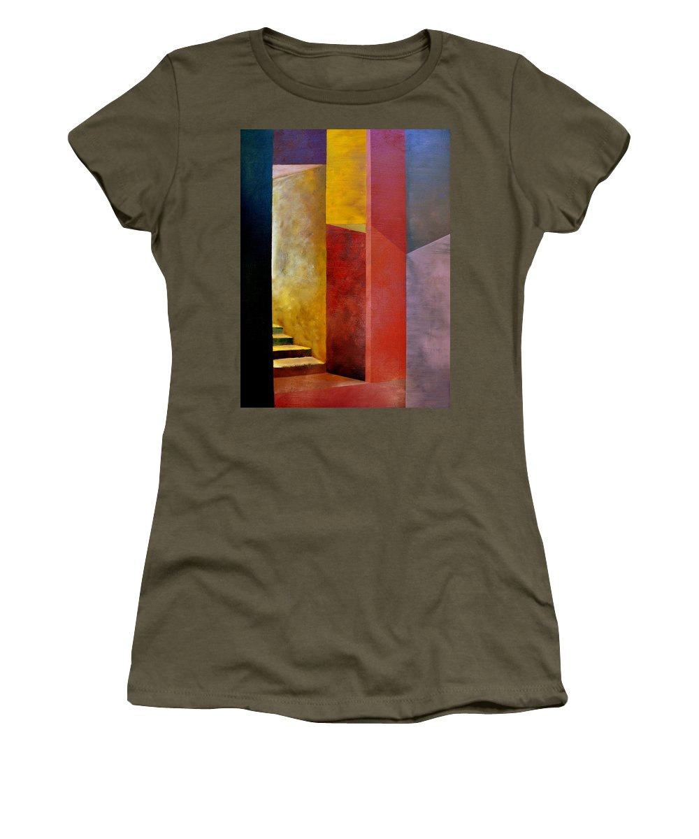 Gold Women's T-Shirt featuring the painting Mystery Stairway by Michelle Calkins