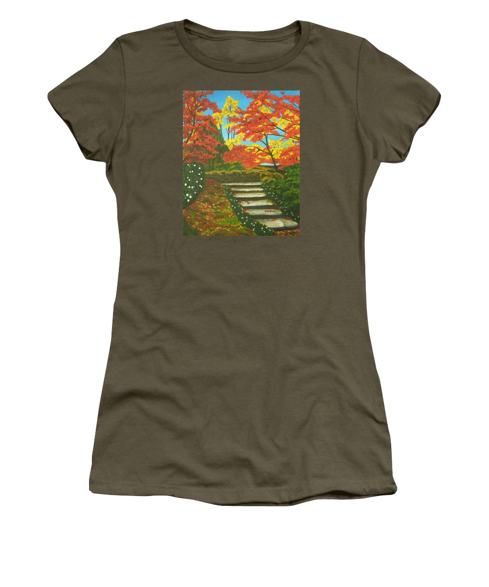 Fall Landscape Women's T-Shirt featuring the painting Mystery Walk by Brandy House