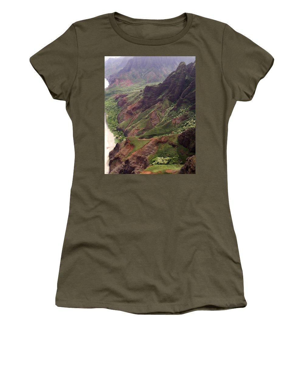 Na Pali Women's T-Shirt featuring the photograph Na Pali Coast by Amy Fose