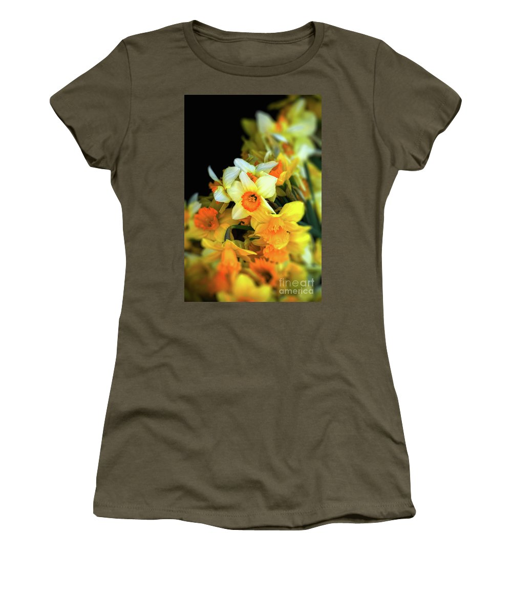 Narcissi Women's T-Shirt (Athletic Fit) featuring the photograph Narcissi by Silvia Ganora