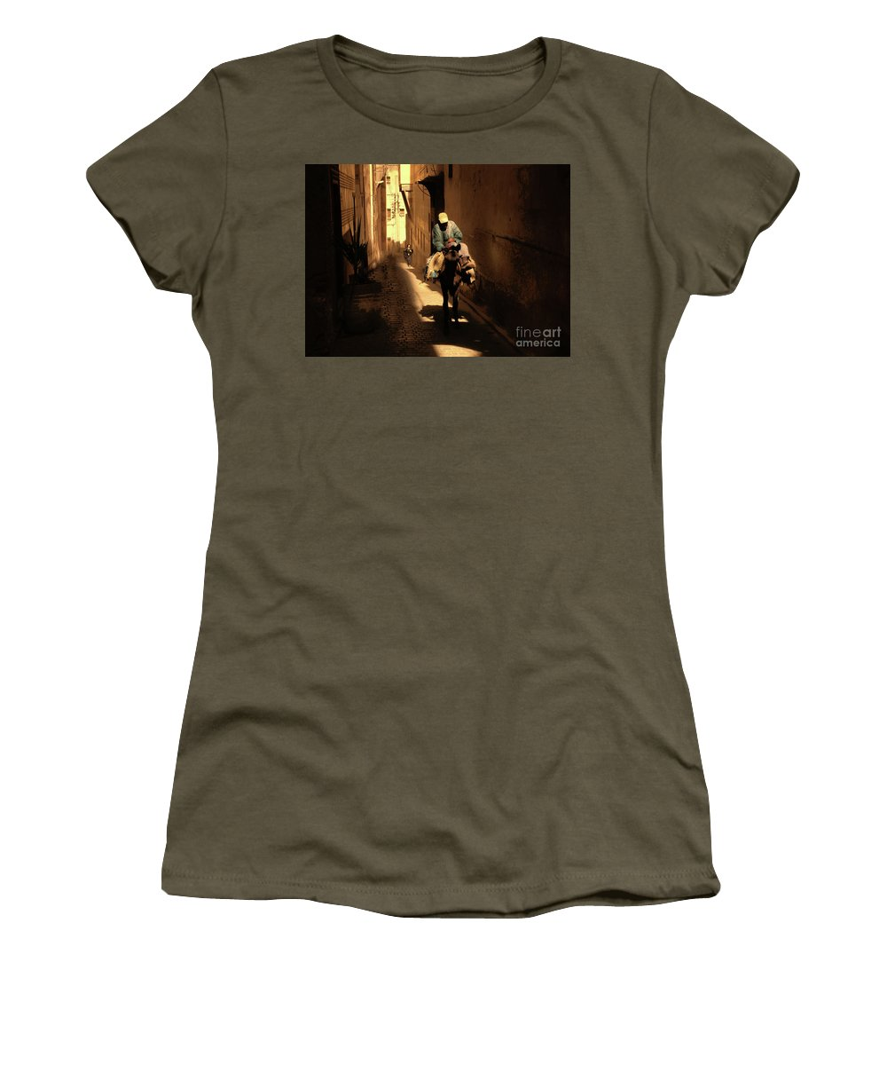 Fes Women's T-Shirt featuring the photograph Narrow Streets Fes Male Donkey by Chuck Kuhn