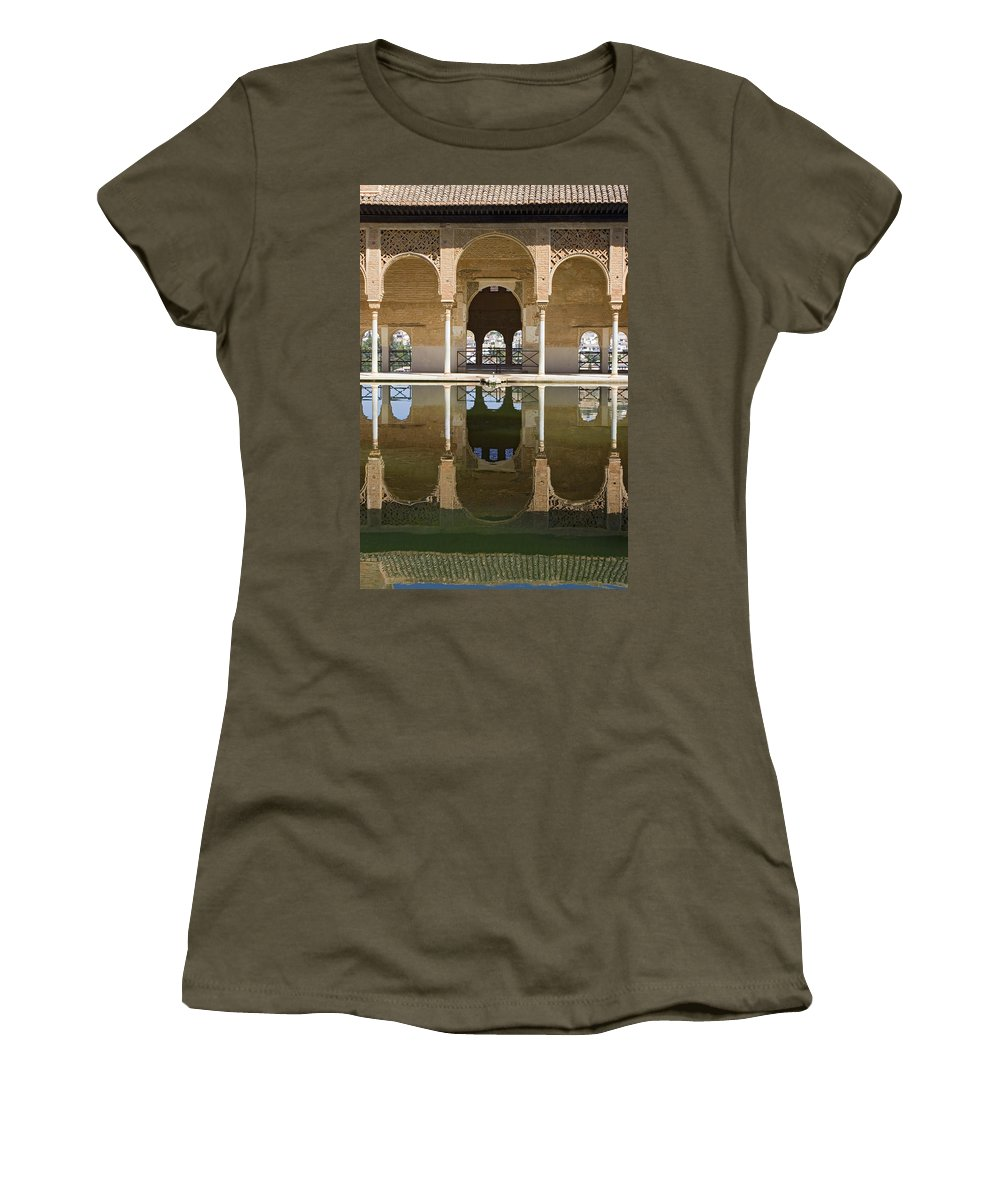 Moorish Women's T-Shirt featuring the photograph Nasrid Palace Arches Reflection At The Alhambra Granada by Mal Bray
