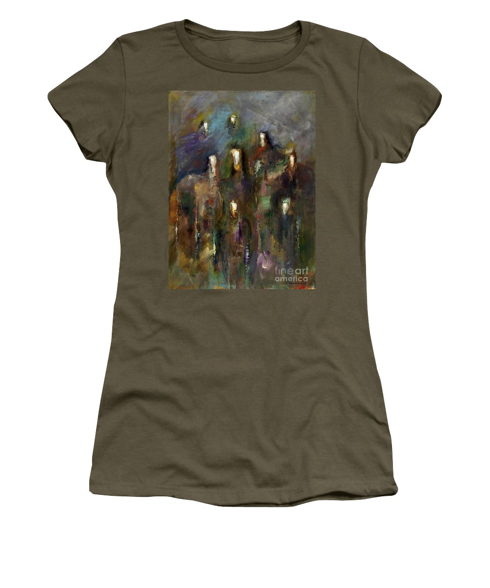 Horses Women's T-Shirt featuring the painting Natural Instincts by Frances Marino