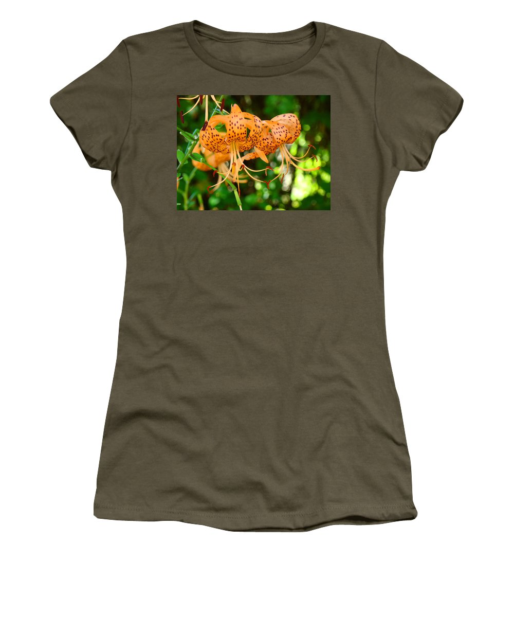 Lilies Women's T-Shirt (Athletic Fit) featuring the photograph Nature Floral Orange Tiger Lily Flowers Baslee Troutman by Baslee Troutman