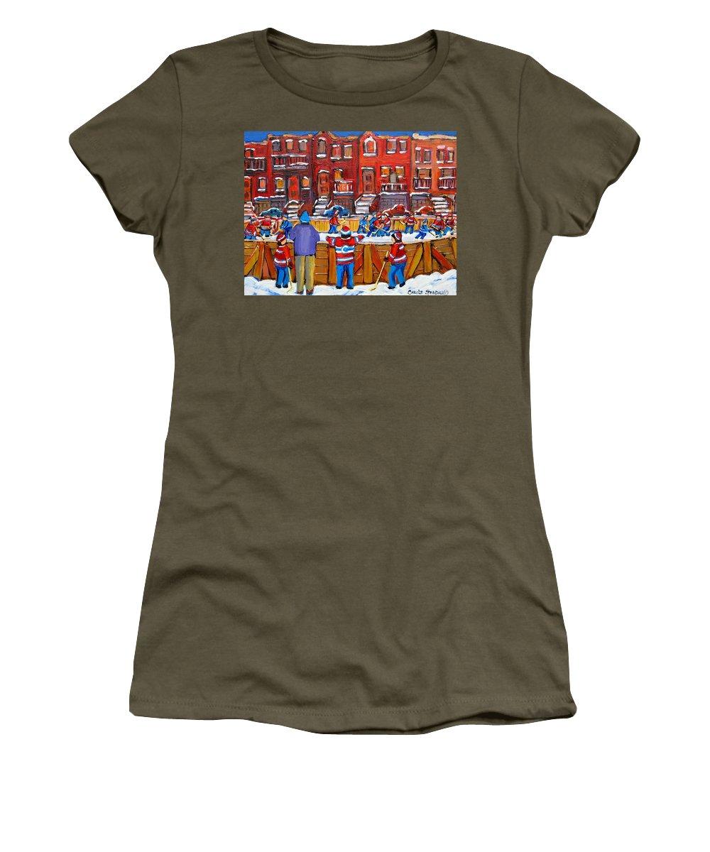 Hockeygame At The Neighborhood Rink Women's T-Shirt featuring the painting Neighborhood Hockey Rink by Carole Spandau