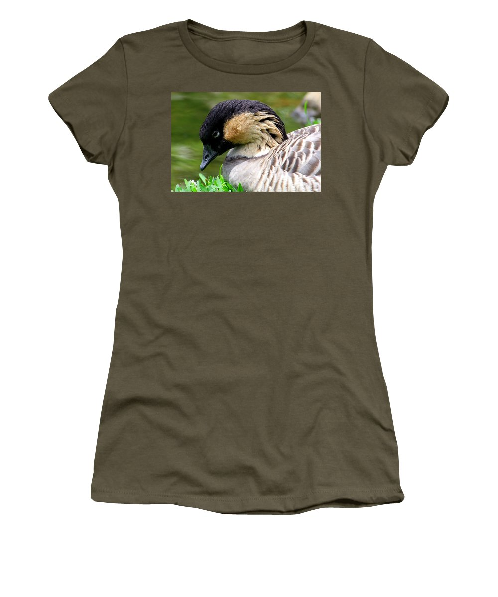 Hawaii Birds Women's T-Shirt (Athletic Fit) featuring the photograph Nene Hawaii State Bird by Mary Deal