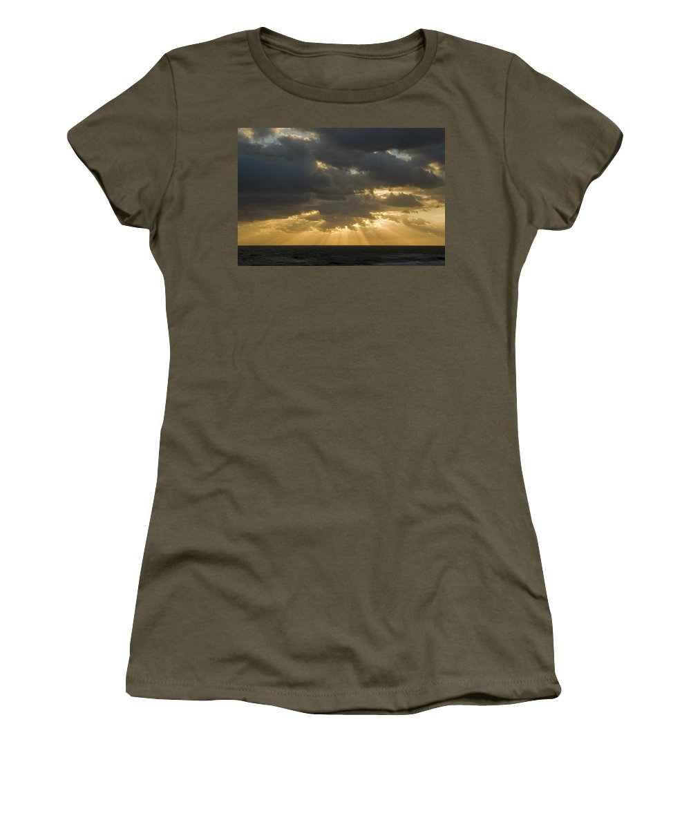 Ocean Sunset Sun Cloud Clouds Ray Rays Beam Beams Bright Wave Waves Water Sea Beach Golden Nature Women's T-Shirt featuring the photograph New Beginning by Andrei Shliakhau