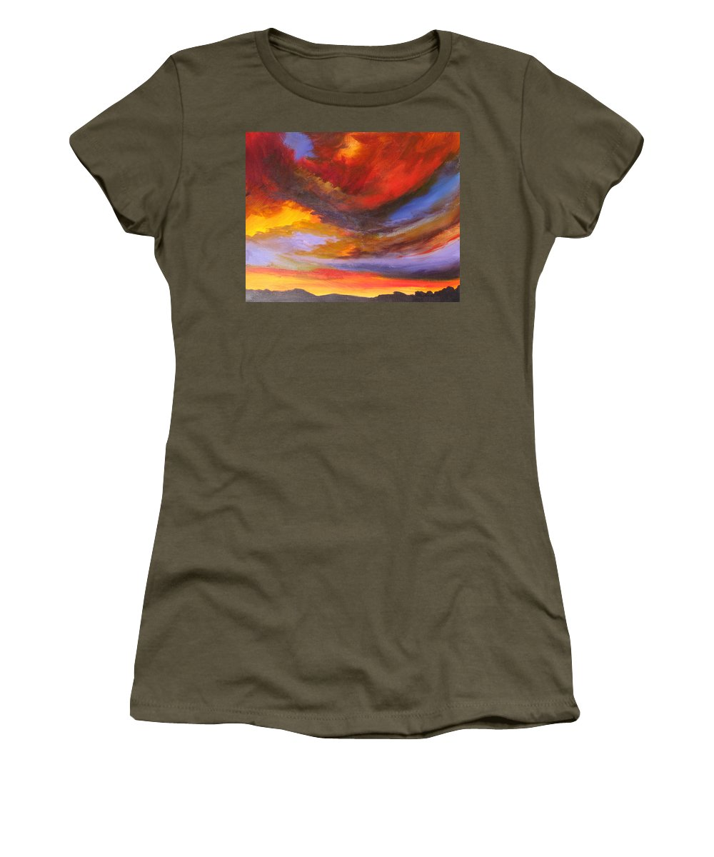 Sunset Women's T-Shirt (Athletic Fit) featuring the painting New Mexico Sunset by Melody Horton Karandjeff