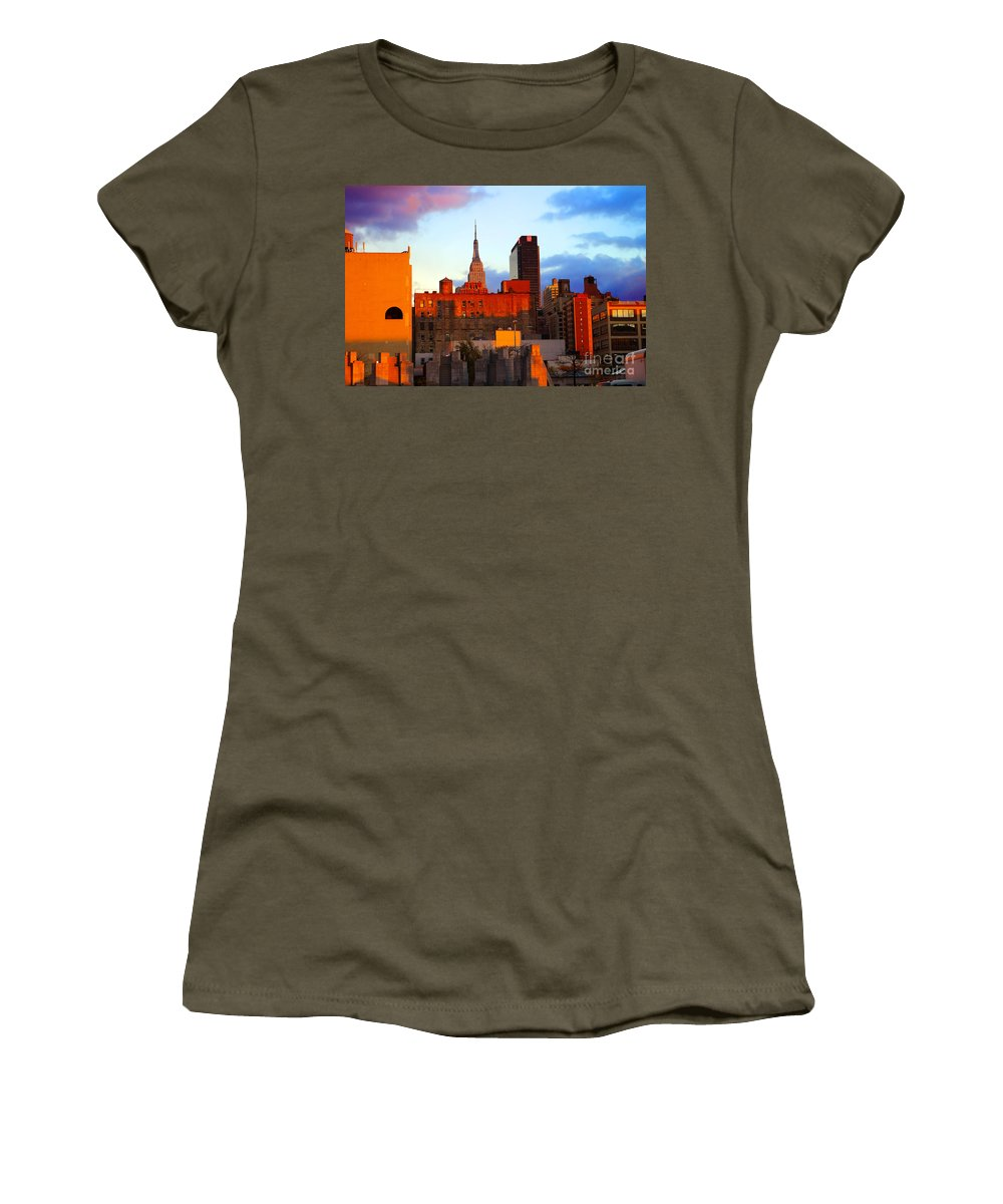 New York City Women's T-Shirt featuring the photograph New York City Skyline Sunset by Rich Walter