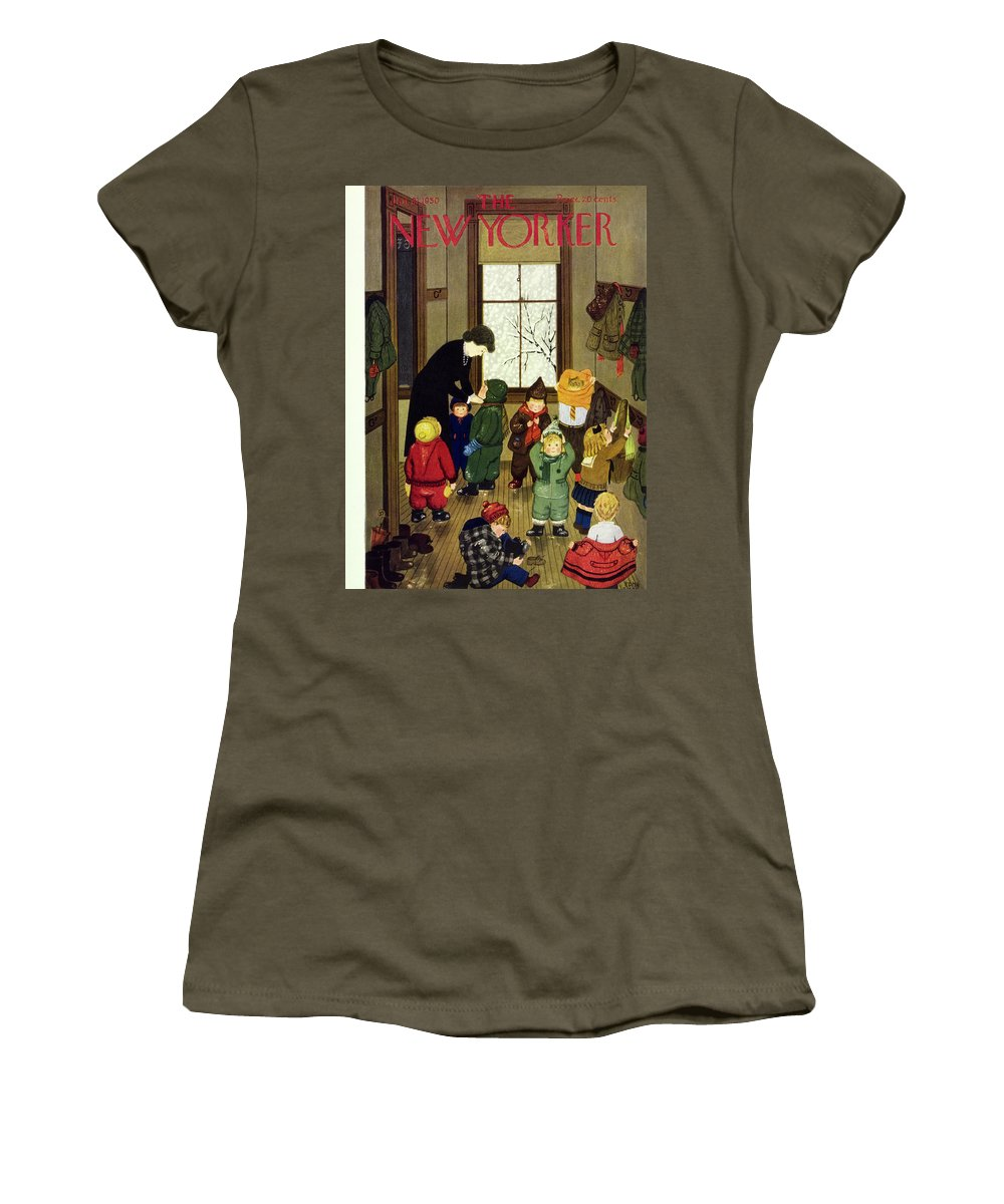 Teacher Women's T-Shirt featuring the painting New Yorker January 21 1950 by Edna Eicke