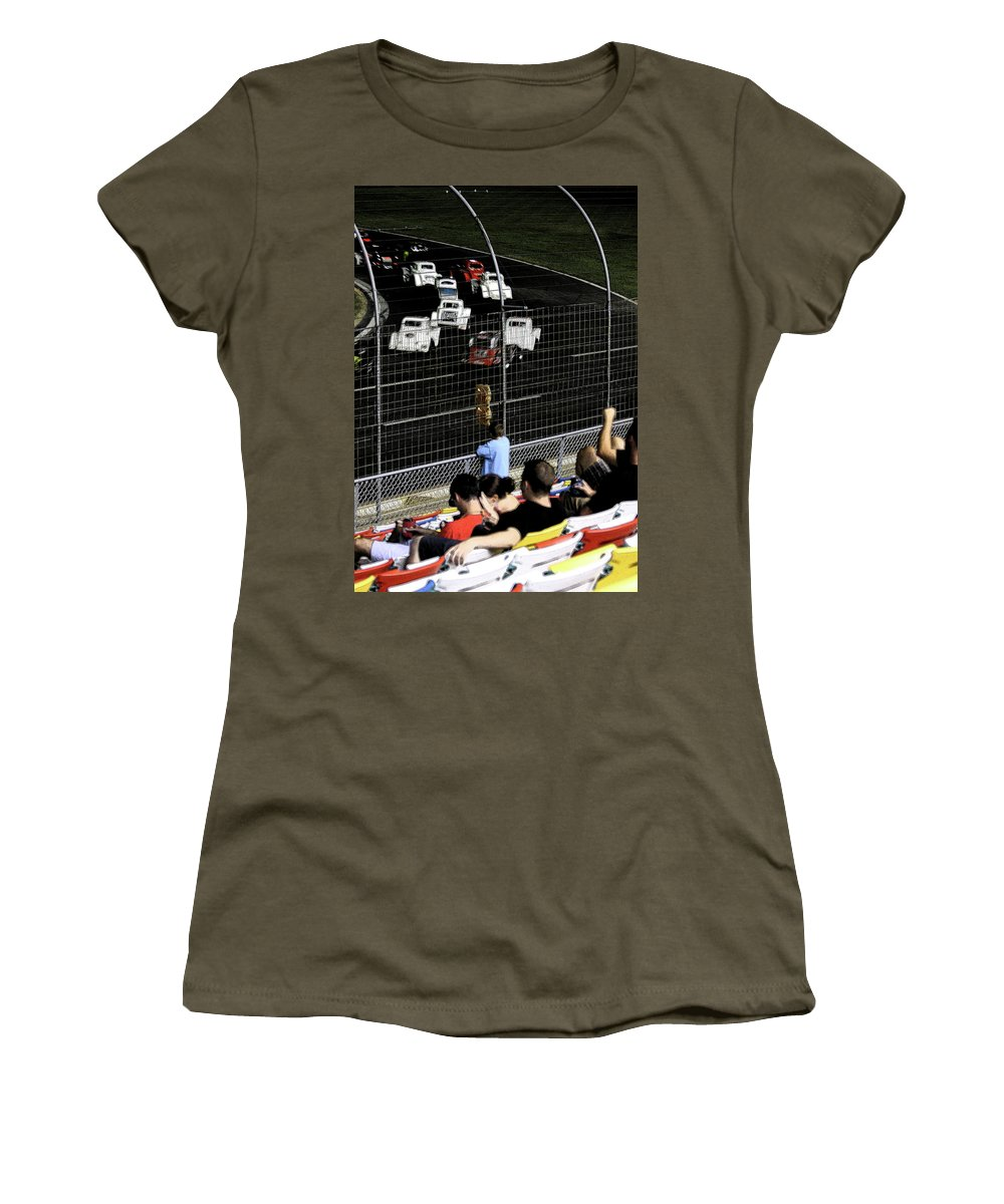 Races Women's T-Shirt featuring the photograph Night At The Races by Karol Livote