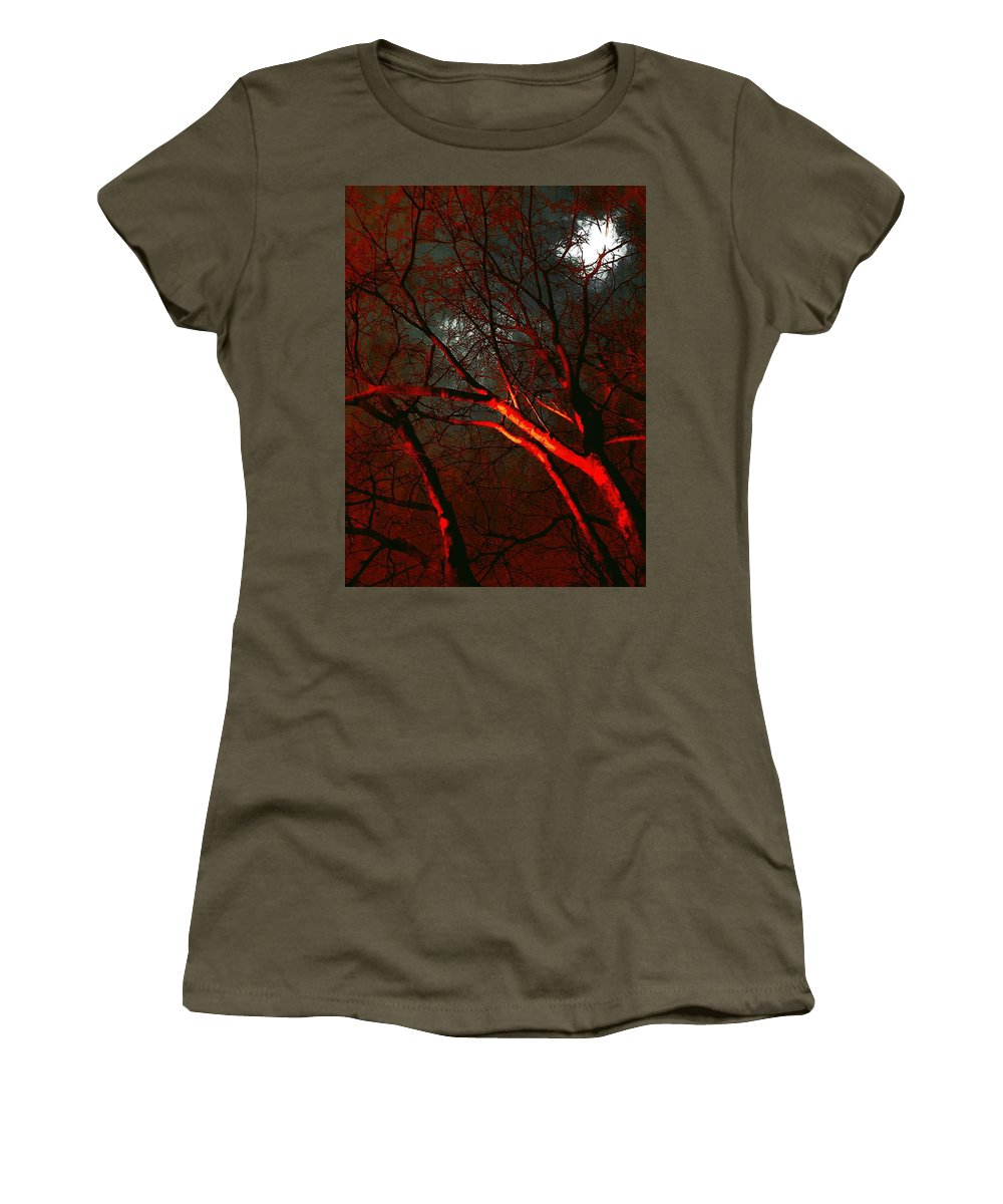 Red Women's T-Shirt featuring the digital art Night Blaze by Katherine Pearson