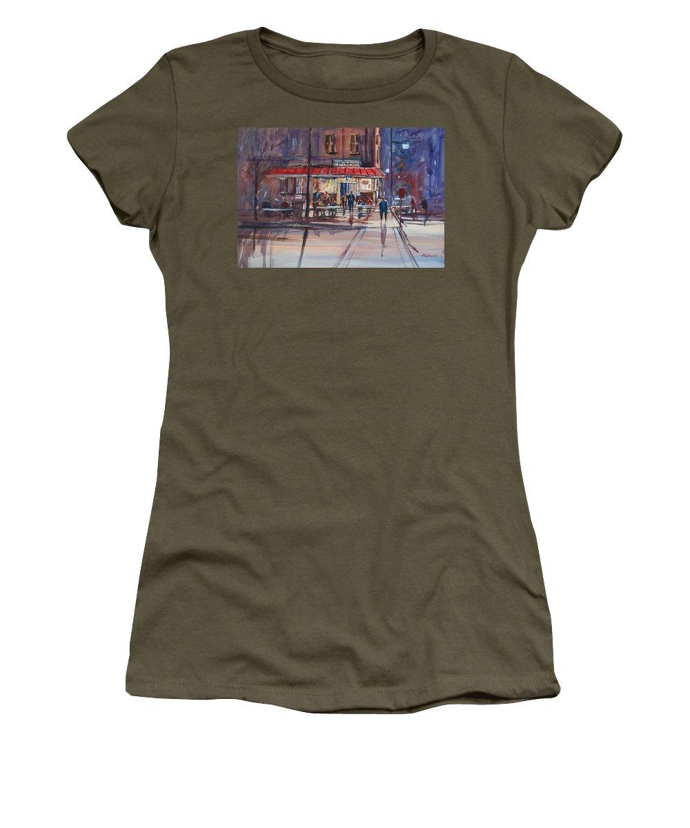 Street Scene Women's T-Shirt featuring the painting Night Cafe by Ryan Radke