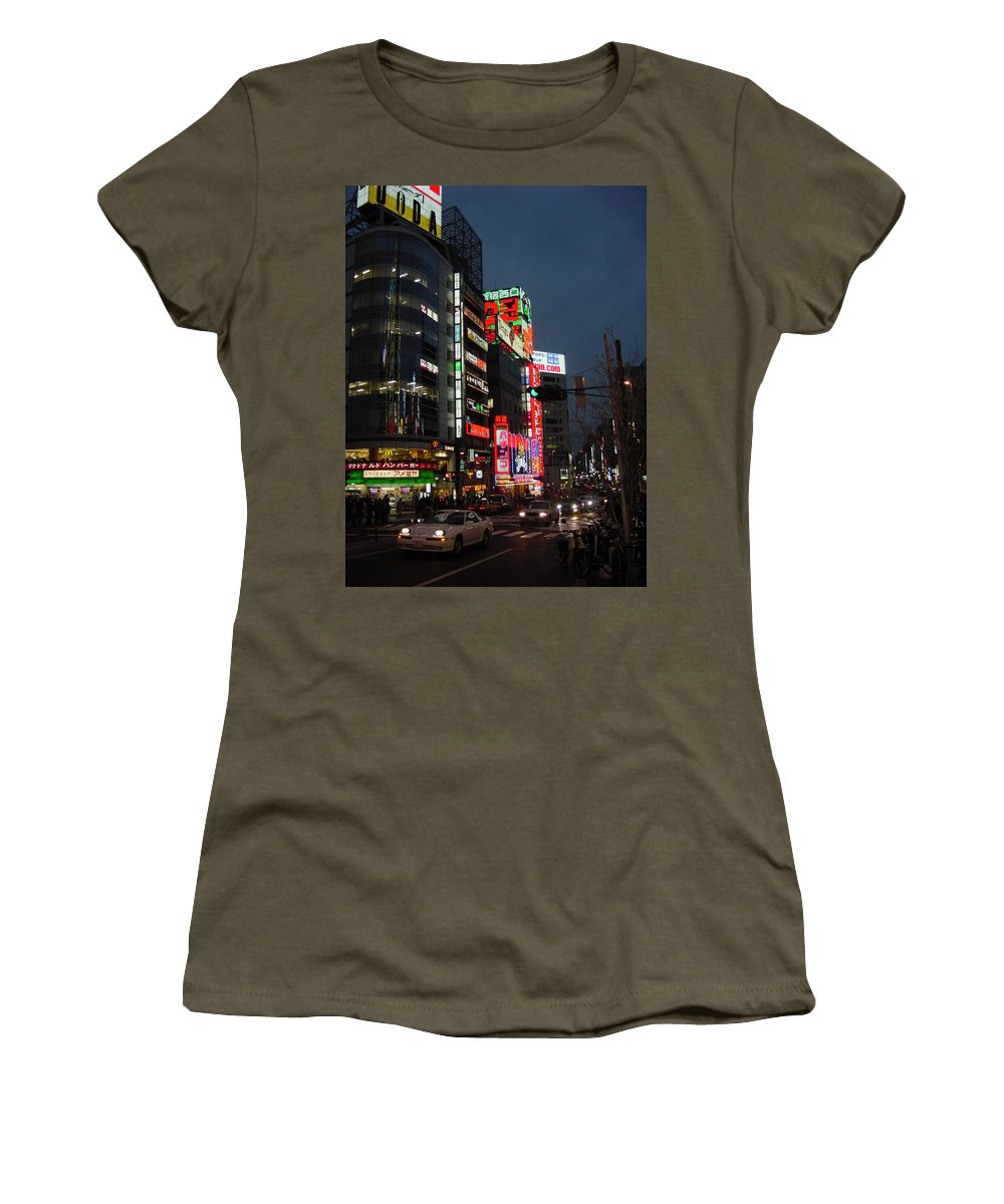 Cityscape Women's T-Shirt (Athletic Fit) featuring the photograph Nightlife's Dawn by D Turner